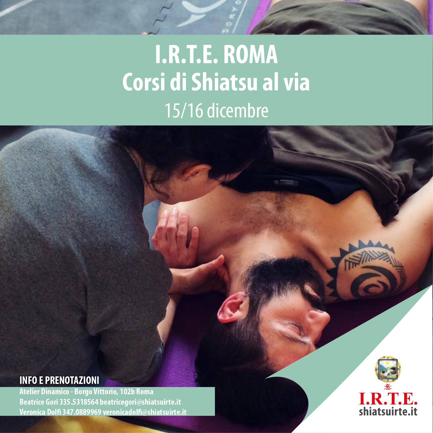 Corsi Shiatsu al via a Roma nel weekend di 15/16 dicembre