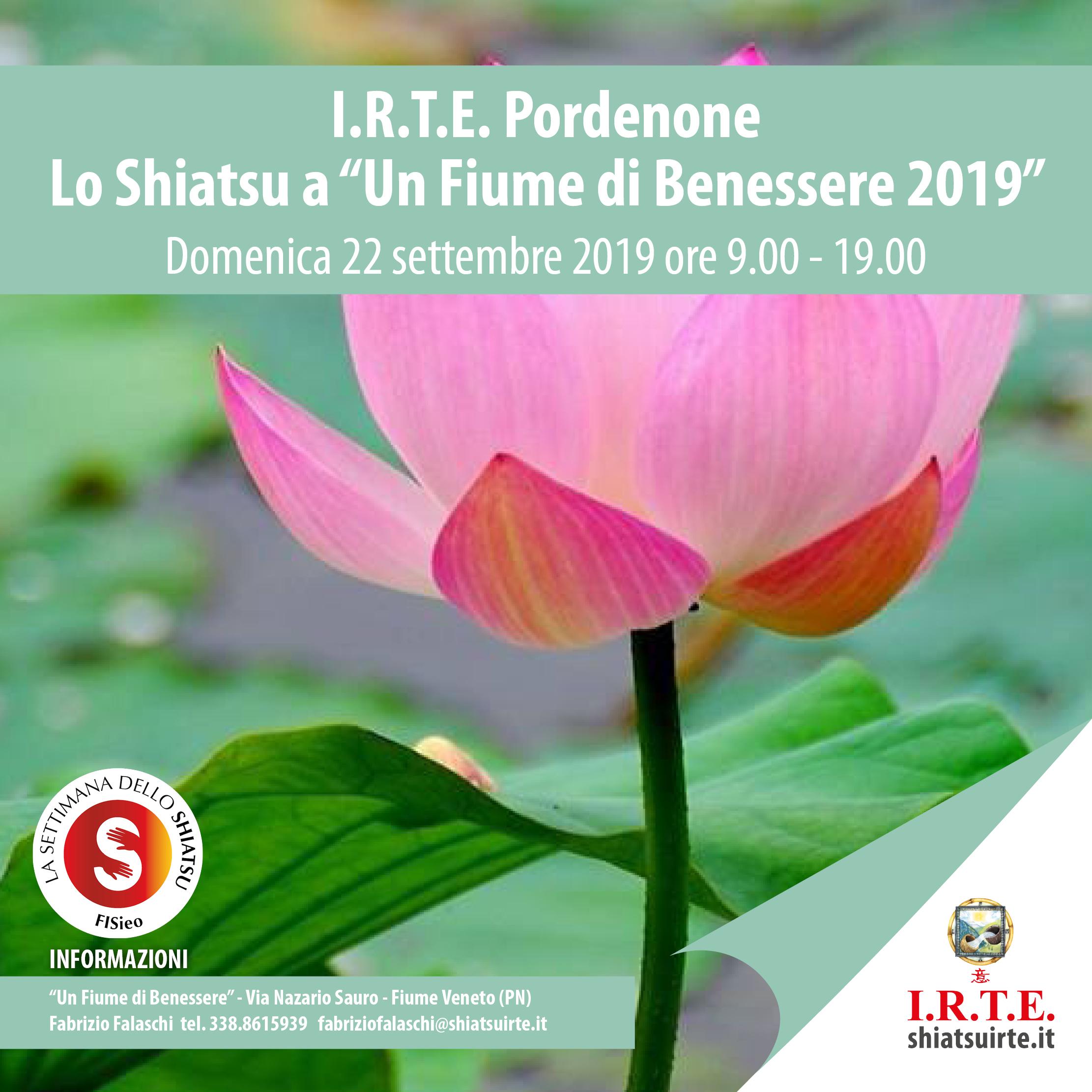 22 settembre 2019: lo Shiatsu I.R.T.E. a &quote;Un Fiume di Benessere&quote; - Bannia di Fiume Veneto (PN)