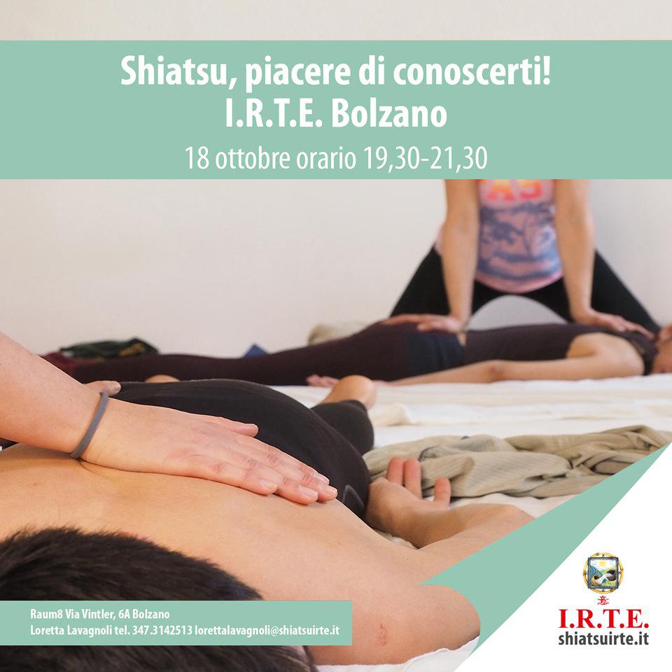 Bolzano 18 ottobre 2019 Conosci lo shiatsu!          Presentazione dei corsi